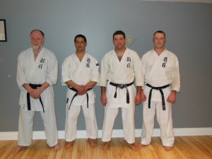 Peter Giffen, Peter Zehr, Matt Mannerow and Evan Bray after Ryusei Karate training.